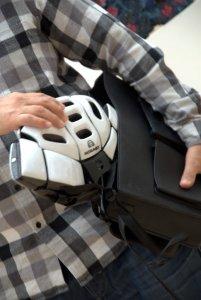 Morpher Helmet folded with bag Morpherhelmet.com