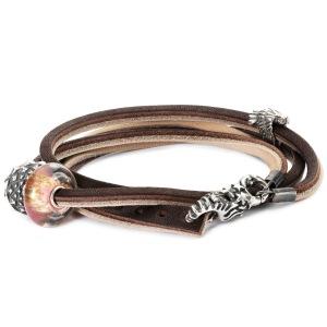 Leather Bracelet, Brown, Light Grey with Charms www.trollbeads.com