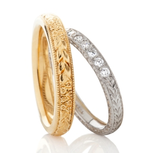 Vintage-style-hand-engraved-wedding-rings-group www.london-victorian-ring.com