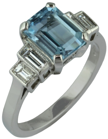 London Victorian Ring Company Aquamarine and Diamon Ring with Stepped Baguette Diamond Shoulders, £1,590 www.london-victorian-ring.com