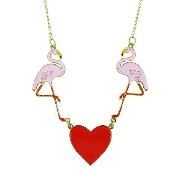Flamingo and heart enamel necklace, £35.00 www.nhmshop.co.uk