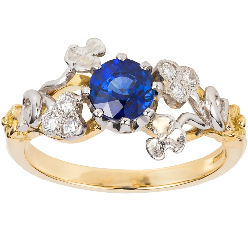 3515SD London Victorian Ring Co Vintage Floral Sapphire and Diamond Ring £1,650 www.london-victorian-ring.com(1)